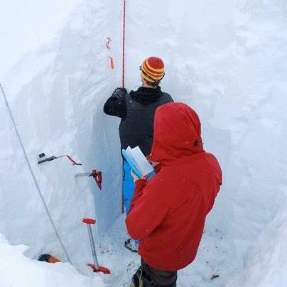 measuring in a snowpit